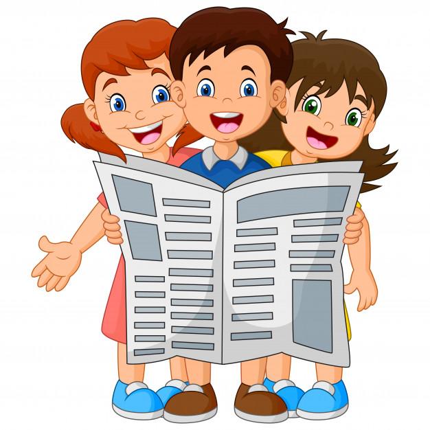kinderen lezen krant